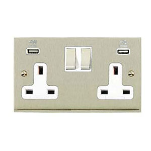 SOCKET 2GANG SWITCHED WITH USB SATIN NICKEL