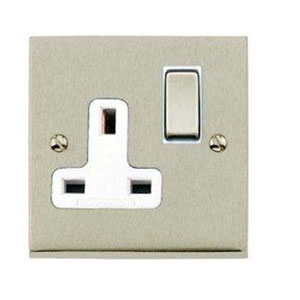 SOCKET 1GANG SWITCHED SATIN NICKEL