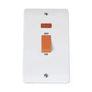 COOKER SWITCH 45A 2GANG TALL