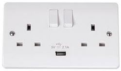 2GANG SWITCHED SOCKET C/W 2.1A USB OUT