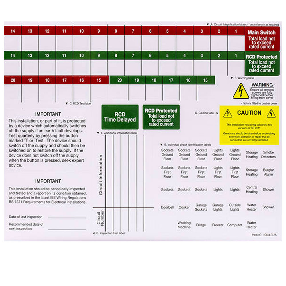 CONSUMER UNIT LABEL CHART UNIVERSAL