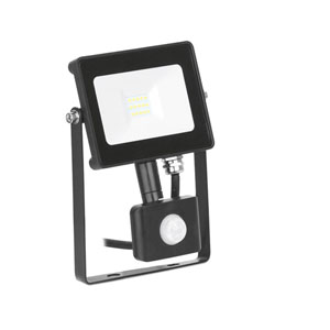 FLOODLIGHT LED WITH PIR 10W BLACK