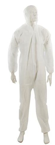 OVERALLS DISPOSABLE WHITE   HOOD