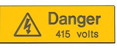 DANGER 415V LABEL PACK5