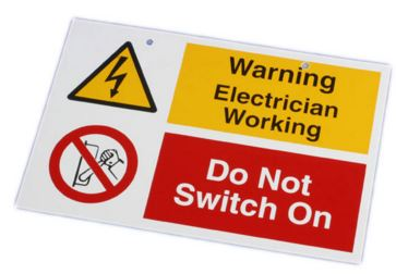 DO NOT SWITCH ON ELECTRICIAN WORKING
