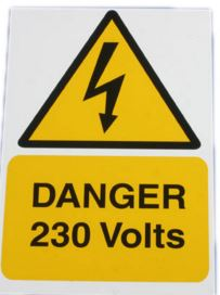 DANGER 230V RIGID S/A PVC 150X225
