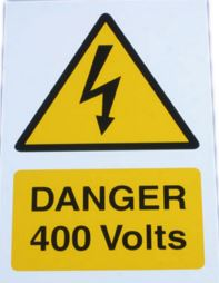 DANGER 400V RIGID SA PVC 150 X 225