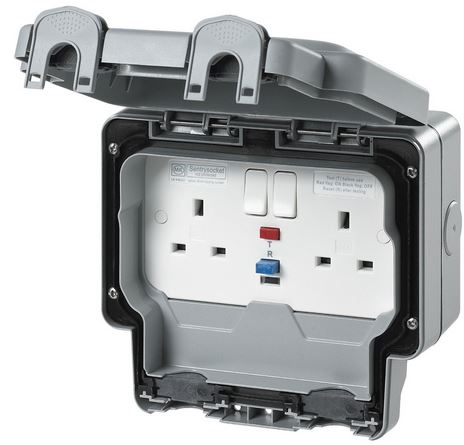 2 GANG RCD SOCKET WEATHERPROOF
