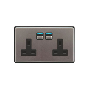 SOCKET 2GANG 13A STAINLESS