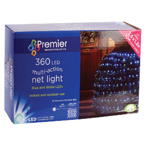 360 LED NET LIGHTS BLUE/WHITE
