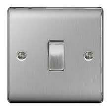 SWITCH 1GANG 2WAY BRUSHED STEEL