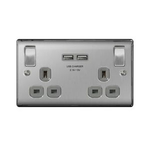 SOCKET 2GANG USB BRUSHED STEEL