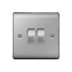 SWITCH 2GANG 2WAY BRUSHED STEEL