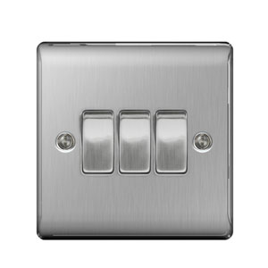 SWITCH 3GANG 2WAY BRUSHED STEEL