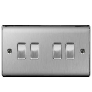 SWITCH 4GANG 2WAY BRUSHED STEEL