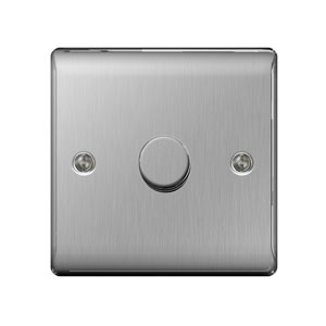 DIMMER 1GANG 2WAY 400W BRUSHED STEEL