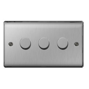 DIMMER 3GANG 2WAY 400W BRUSHED STEEL