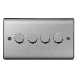 DIMMER 4GANG 2WAY 400W BRUSHED  STEEL