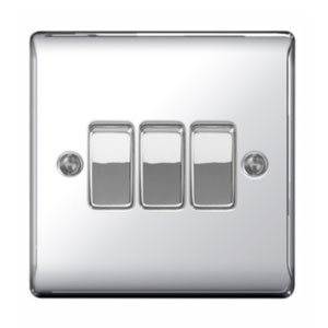 SWITCH 3GANG 2WAY POLISHED CHROME