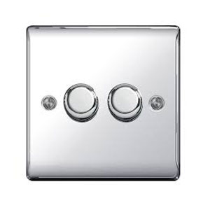 DIMMER 2GANG 2WAY 400W  POLISHED CHROME