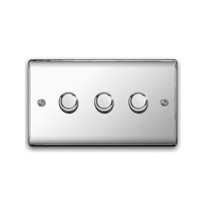 DIMMER 3GANG 2WAY 400W POLISHED CHROME