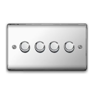 DIMMER 4GANG 2WAY 400W POLISHED CHROME