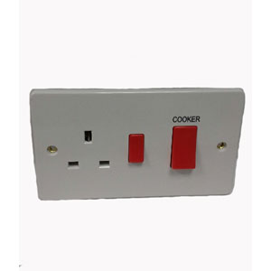 COOKER PANEL WITH 13A SOCKET SLIM WHITE
