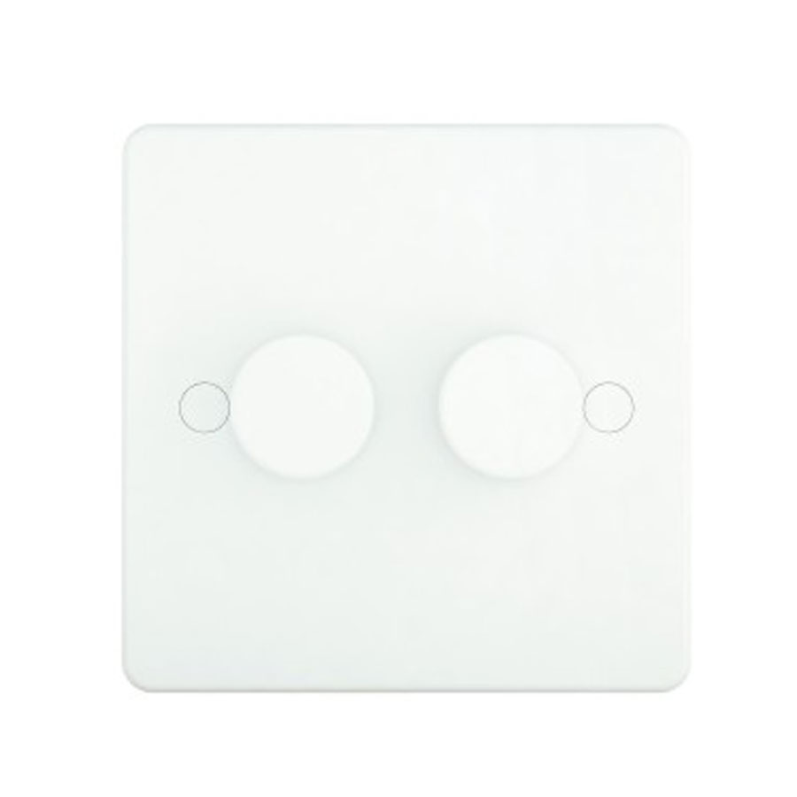 DIMMER 2GANG 2WAY 400W SLIM WHITE