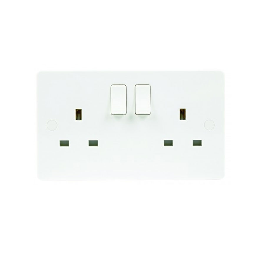 SOCKET 2GANG SWITCHED 13A SLIM WHITE