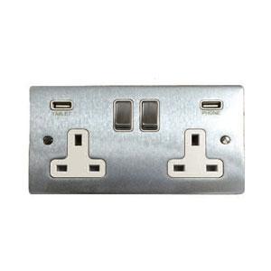 2GANG SOCKET FLAT PLATE C/W USB
