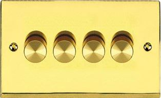Dimmer Switch Push On/Off 4 Gang 2Way Plain P