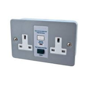 RCD SOCKET 2GANG SWITCHED - METAL CLAD
