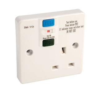 RCD SOCKET 1GANG 13A UNSWITCHED