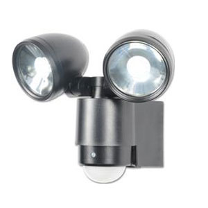 TWINSPOT LED 2X3WATT FITTING WITH PIR BLACK